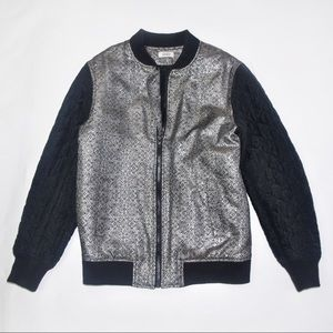 Nomia Metallic Floral Jacket with Quilted Sleeves